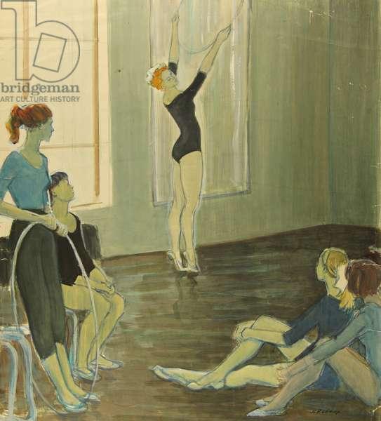 Rhythmic Gymnastics, Warm-Up, 1965 (gouache on paper)