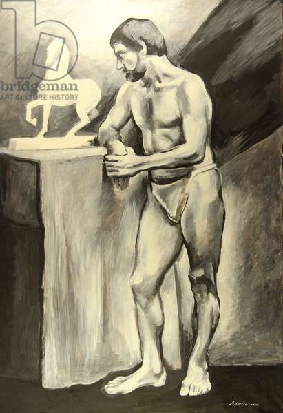 Male Model with Horse Sculpture, 1970s (tempera on paper)