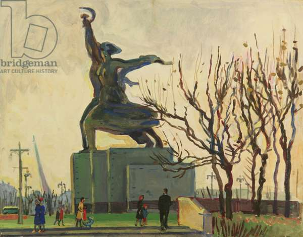 The Monument to the 'The Worker and the Peasant', Exhibition of Economical Achievements, Moscow, 1970s (tempera on paper)