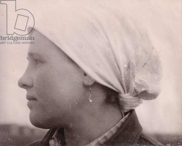 Young Kolkhoz Woman, 1960s (b/w photo)