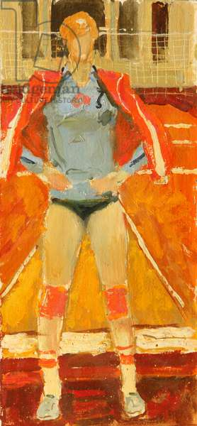 Volleyball Girl, 1970s (oil on card)