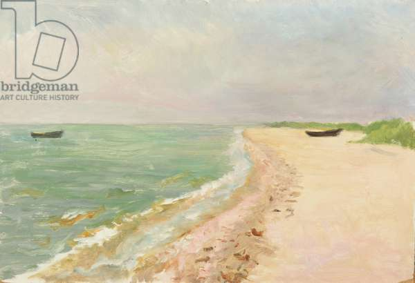View of the Baltic Sea, 1950s (oil on card)