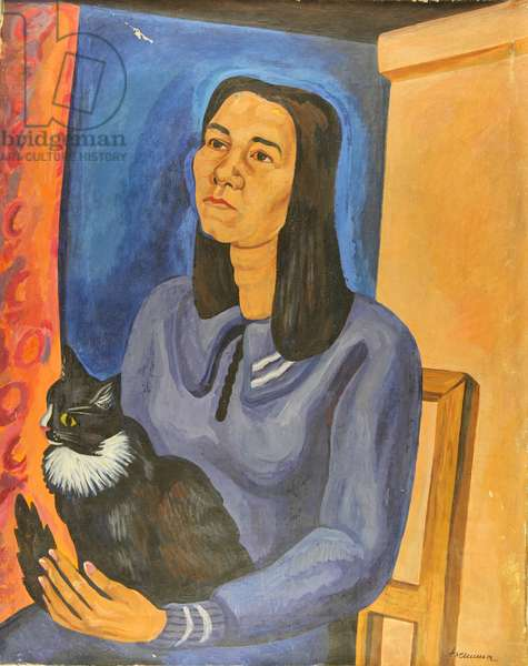 Woman with Cat, 1970s (oil on canvas)
