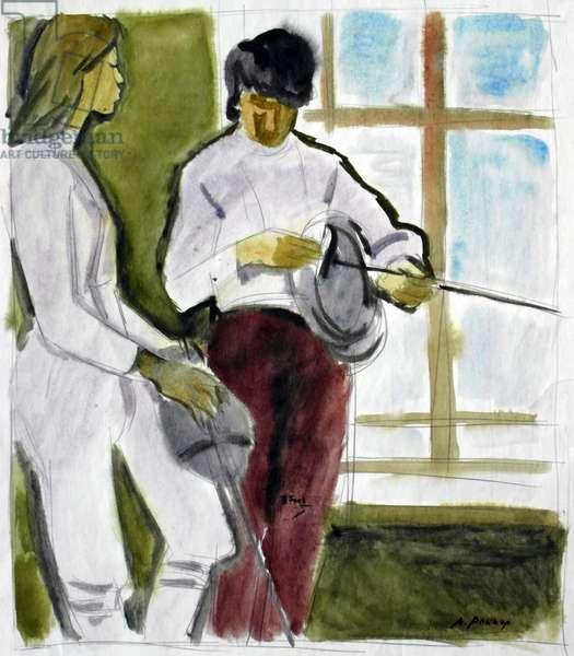 Fencer Girls, 1960s (w/c on paper)