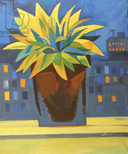 Flowers in Moscow Window, 1970s (tempera on paper)