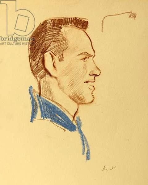 Valery Brumel, 1961 (colour pencil on paper)
