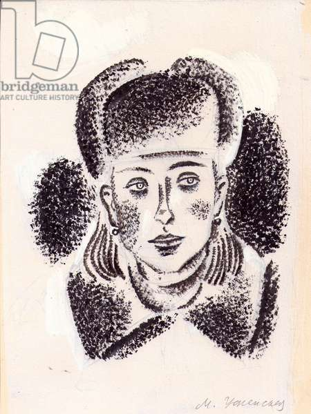 Young Woman in Ushanka Hat, 1966 (gouache on paper)