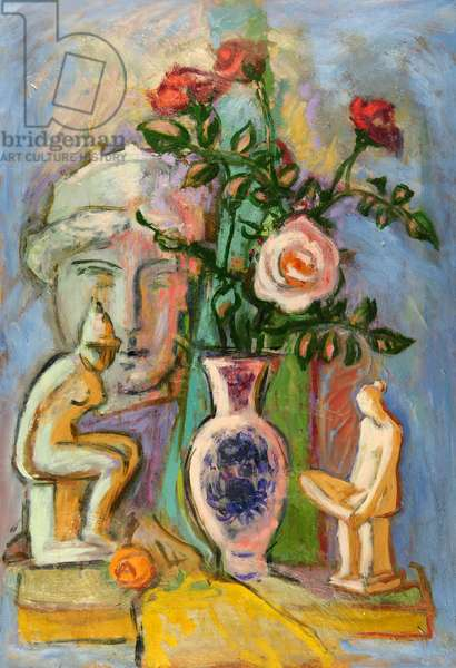 Still Life with Figurines, Vase and Roses, 1993 (oil on board)
