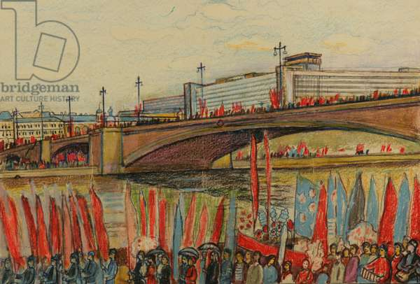 Demonstration across the Moscow River from Red Square, 1962 (w/c & colour pencil on paper)
