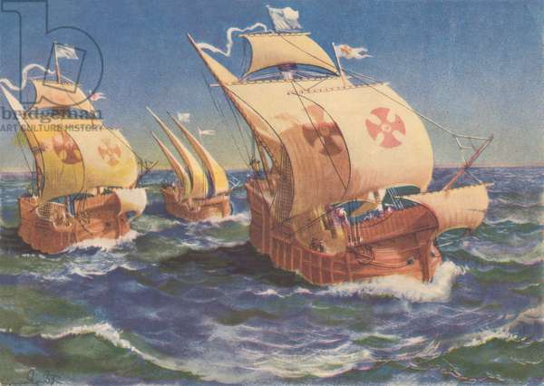Christopher Columbus Sailing Out from Cadiz, 1939 (lithograph)