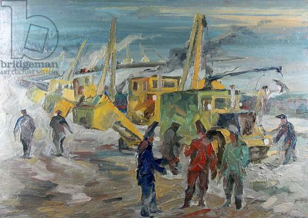 Laying the Gas Pipes, 1977 (oil on canvas)