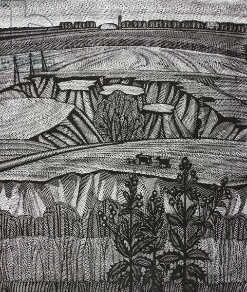Landscape in Uryv, 1980 (linocut)