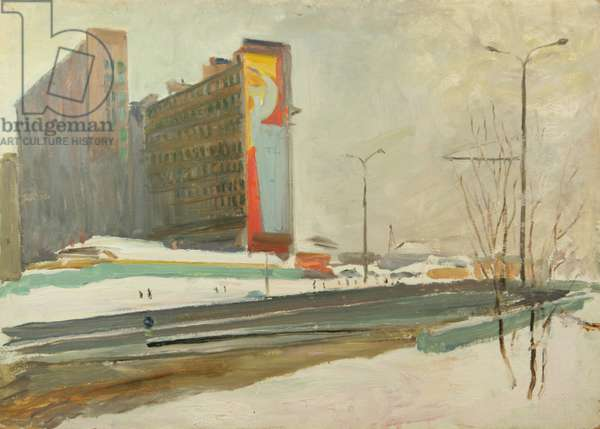 Mozhaiskoe Shosse in Moscow being Built, 1960s (oil on card)