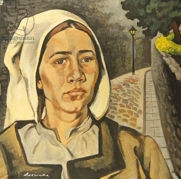 Woman in Tallin, 1974 (tempera on paper)