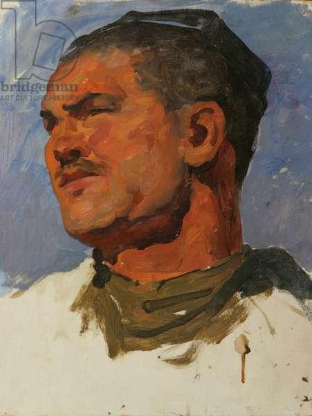 Uzbek Kolkhoz worker, 1953 (oil on card)