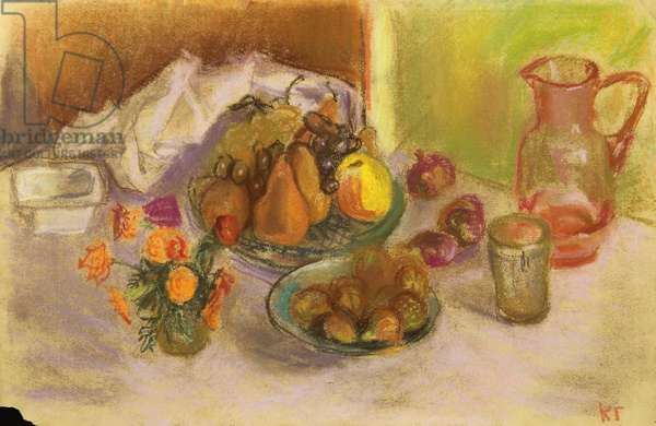 Still Life with Flowers, Fruits and Pitcher, 1974 (pastel on paper)