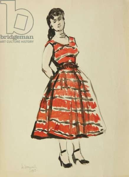 Dress Sketch, 1955 (tempera on paper)