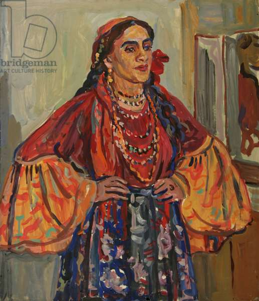 Portrait of Olga Kononova, actress at the Romani Theatre, Moscow, 1962 (tempera on paper)