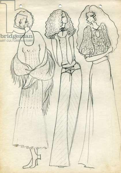 Fashion Design Sketch, c.1970 (pencil on paper)