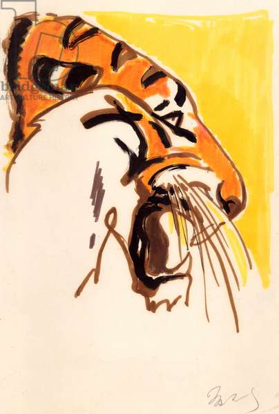 Tiger, Illustration from 'About the Rare Animals of Earth', I. Sosnovsky, 1982 (gouache on paper)
