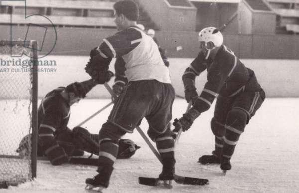 Soviet Ice Hockey players training, 1962 (b/w photo)