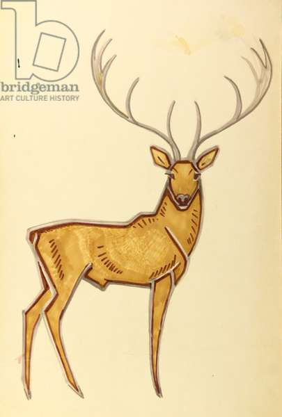 Deer, 1955 (tempera on card)