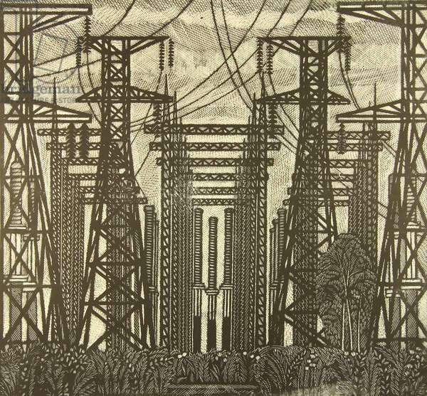 Industrial Landscape by the Novovoronezh Nuclear Power Plant, 1969 (linocut)