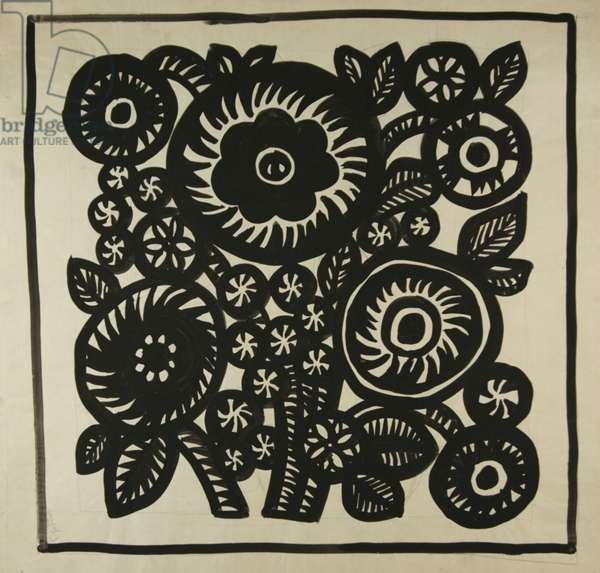 Floral textile design, c.1960 (tempera on paper)