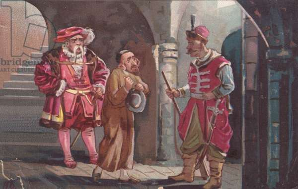 Figures in historical costume, 1900s (colour litho)
