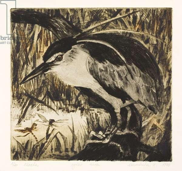 Heron, 1990 (drypoint)