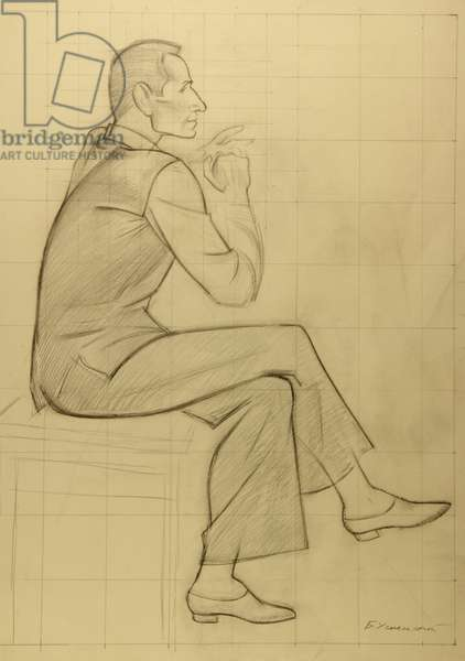 Choreographer Yury Grigorovich at the Rehearsal at the Bolshoi Theatre, 1974 (pencil on paper)