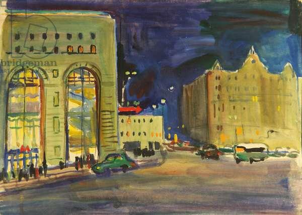 Dzerzhinskii Square (Hotel Metropol)  - In the Evening, 1970s (tempera on paper)