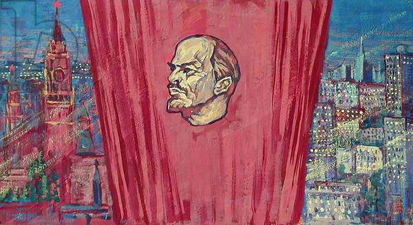 Sketch for Mural with Lenin, 1984 (gouache on paper)