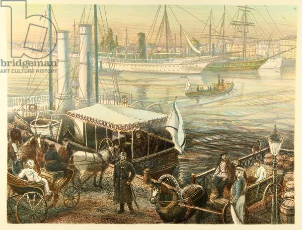The Embankments of the Neva River in St. Petersburg in the 19th Century, 2014 (colour litho)