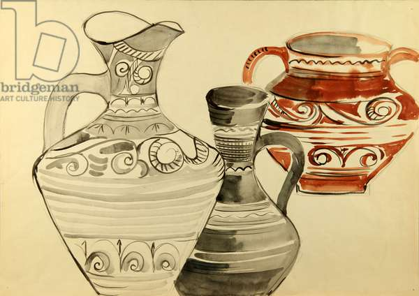 Pottery from the village of Balkhar, Dagestan, 1972 (watercolour on paper)
