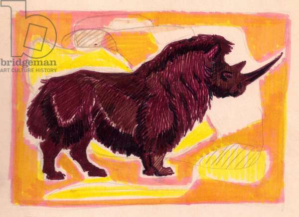 Ice Age Wooly Rhino, 1955 (w/c on paper)
