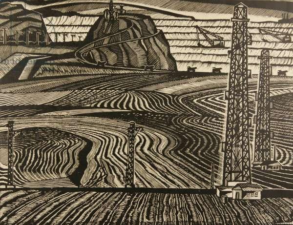Quarry at the Gubkin Plant, 1973 (linocut)