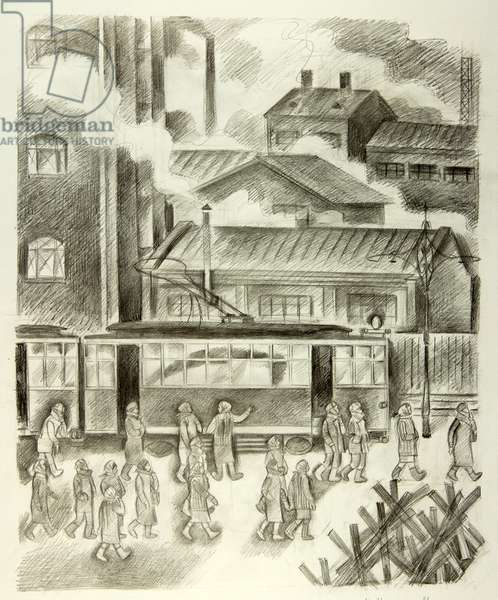 The Night Shift, Moscow 1941, 1986 (pencil on paper)