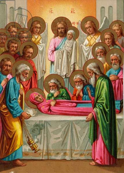 Death of a saint, 1900s (colour litho)