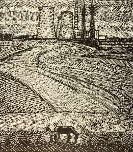 Field with Horses, in front of the Novovoronezh Nuclear Power Plant, 1977 (linocut)