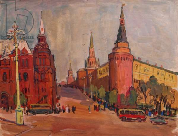 Queuing for Lenin, 1962 (tempera on paper)