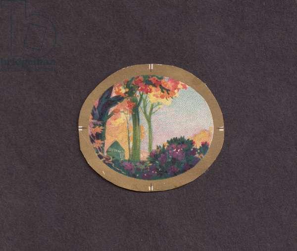 Landscape vignette, 1900s (colour litho)