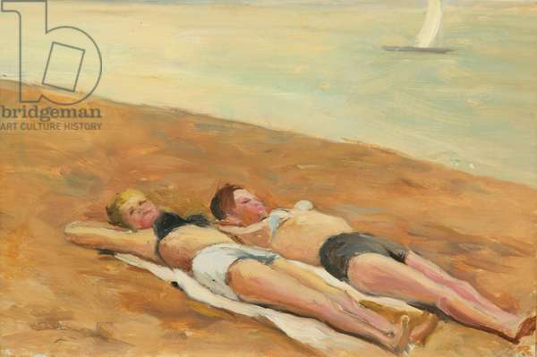 Girls on the Beach on the Baltic Sea, 1950s (oil on card)