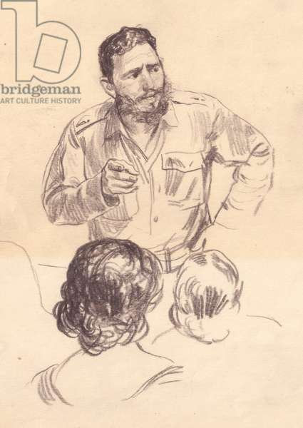 Fidel Castro during a Meeting, 1962 (pencil on paper)