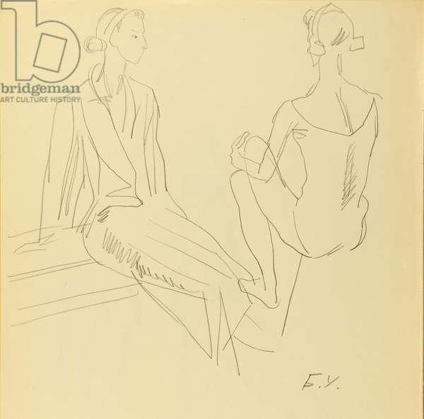 Ballerina Elena Borisova, 1972 (pencil on paper)