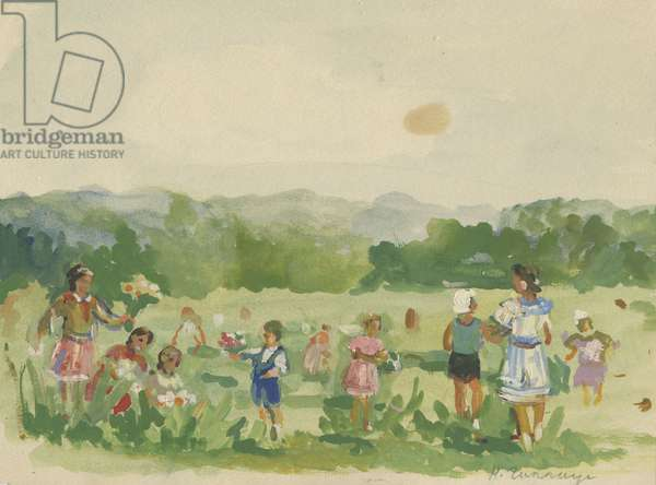 Pioneers Picking Flowers, 1930s (w/c & tempera on paper)