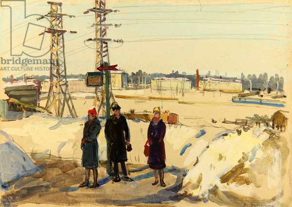 At the Bus Stop, 1963 (tempera on paper)