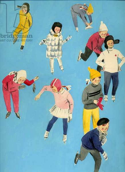 Skating Children, 1959 (gouache on paper)