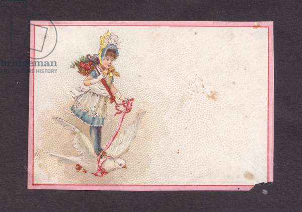Girl riding a bird, 1900s (colour litho)