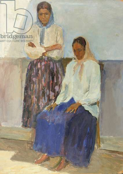 Two Gipsy Women, 1950s (oil on card)